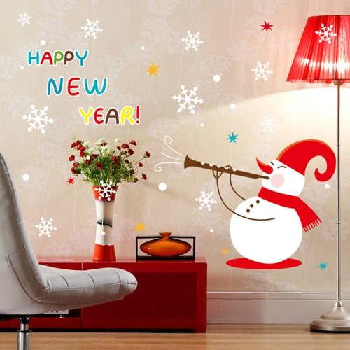 Happy New Year Snow Removable Wall Stickers Art Decals Mural DIY Wallpaper for Room Decal 60 * 90cm