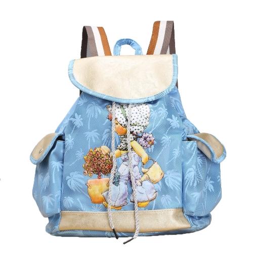 Мода женщин конфеты цвет рюкзак Пу кожа девушка шаблон шнурок случайные мило школа путешествия мешок