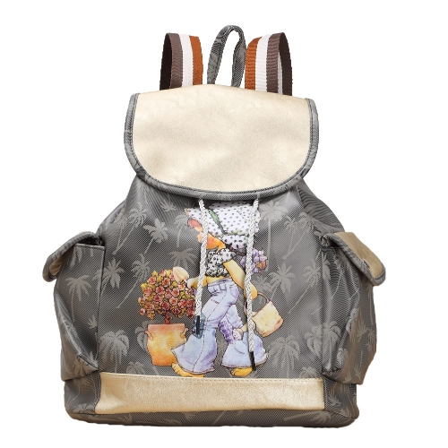 Las mujeres de moda caramelo Color PU cuero chica patrón lazo Casual escuela lindo viaje mochila