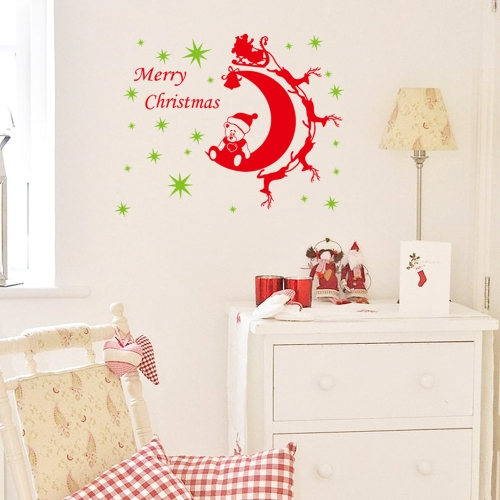 2pcs Christmas Bear Removable Wall Stickers Art Decals Mural DIY Wallpaper for Room Decal 64 * 81cm