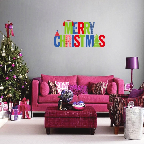 Merry Christmas Removable Wall Stickers Art Decals Mural DIY Wallpaper for Room Decal 64 * 57cm