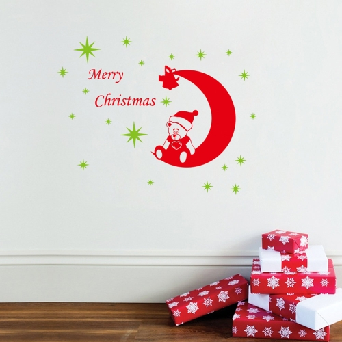 2pcs Christmas Bear Stars Removable Wall Stickers Art Decals Mural DIY Wallpaper for Room Decal 64 * 81cm