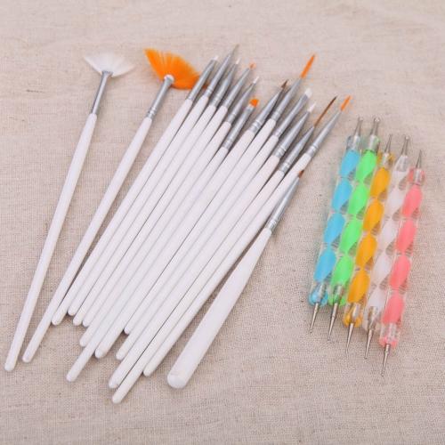 20pcs Nail Art Design pintura pontilham detalhando caneta escovas Bundle Kit conjunto de ferramentas com o caso