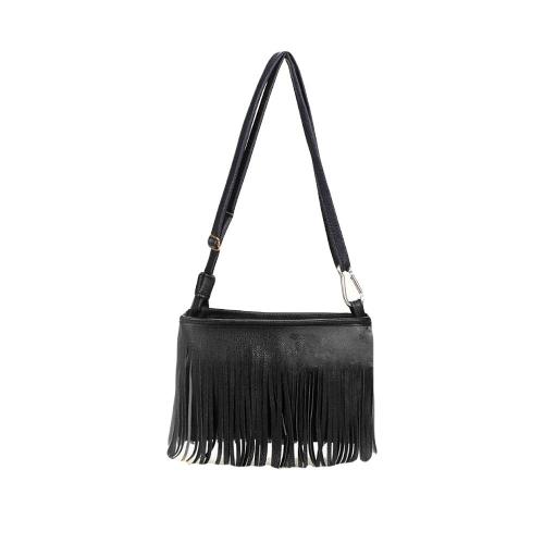 Neue Mode Frauen Mini Schultertasche PU Leder Troddel Franse Schultasche Umhängetasche Briefträger Tasche