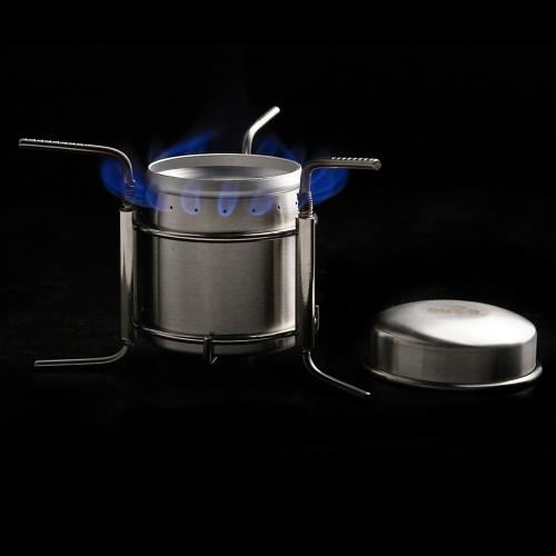 Mini Fornello ad Alcol Stufa Alcol Acciaio Inossidabile Portatile Ultra-light all'aperto Campeggio Fornello Forno con Stand B9-1
