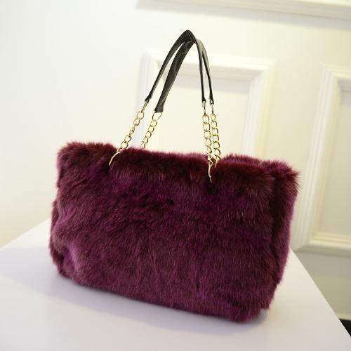Autumn Winter Women Handbag Faux Fur Tote Solid Color/Leopard Print Shoulder Bag