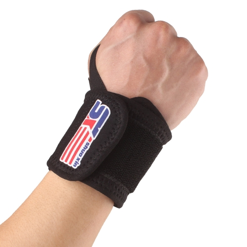 SX503 Sports Elastic Stretchy Wrist Joint Brace Support Wrap Band Thumb Loop Black