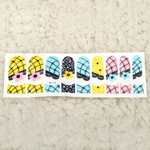 Ein Blatt Mix Style 3D Glitter Nail Art Sticker Patch Wraps Finger Zehen Tipps Dekoration