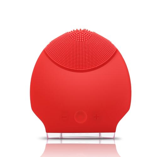 Силиконовые личной перезаряжаемые мини ультразвуковой красоты инструмента супер лица чистого лица уход красный
