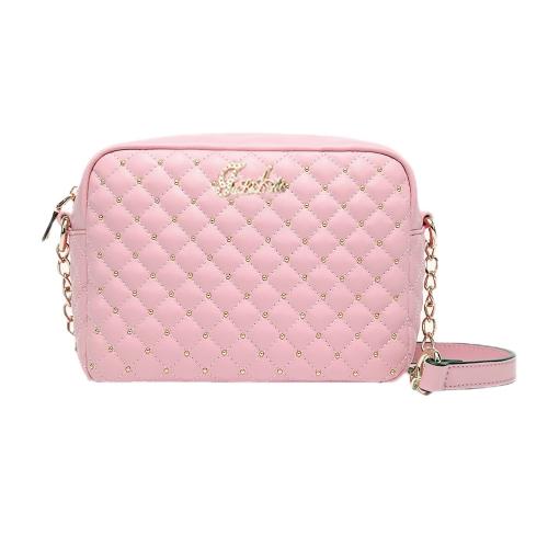 Nova moda mulheres bolsa de ombro PU couro cor dos doces acolchoado padrão rebite cadeia Crossbody Bag