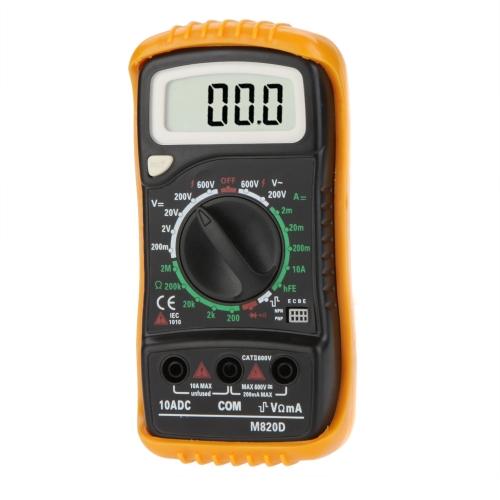 M820D Portable Digital Multimeter DMM Ammeter Voltmeter Ohmmeter & hFE Tester