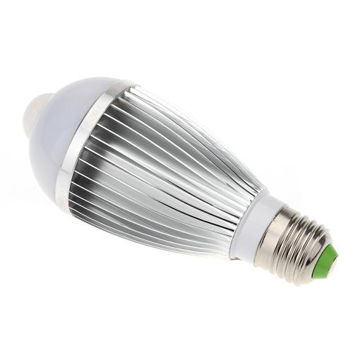 E27 7W LED infrarrojo PIR movimiento humano y Sensor de luz automático detección bombilla 85-265V