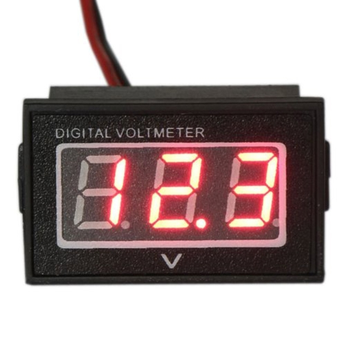 防水モニターバッテリーメーター2.7-30V DCオートゲージ小型デジタル電圧計赤LED逆極性保護