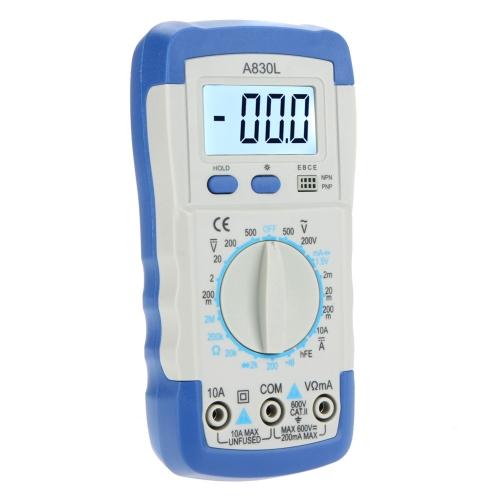 A830L Карманный цифровой мультиметр Амперметр Вольтметр Омметр HFE Тестер с подсветкой и ЖК дисплеем