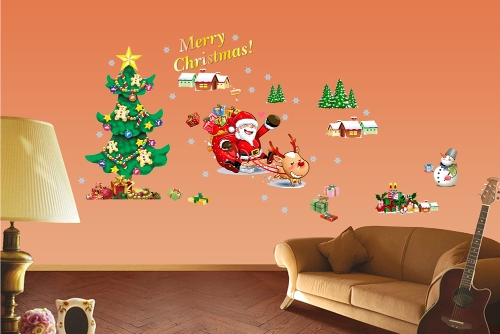 Christmas Tree The Santa Claus Removable Wall Stickers Art Decals Mural DIY Wallpaper for Room Decal 50 * 70cm