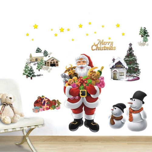 Merry Christmas The Santa Claus Removable Wall Stickers Art Decals Mural DIY Wallpaper for Room Decal 50 * 70cm