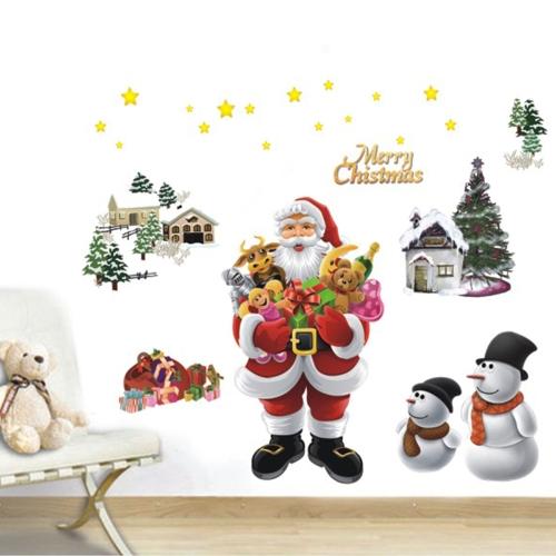Merry Christmas Santa Claus Zdejmowane Naklejki ścienne Naklejki ścienne Art Tapety dla majsterkowiczów Naklejka pokoju 50 * 70cm