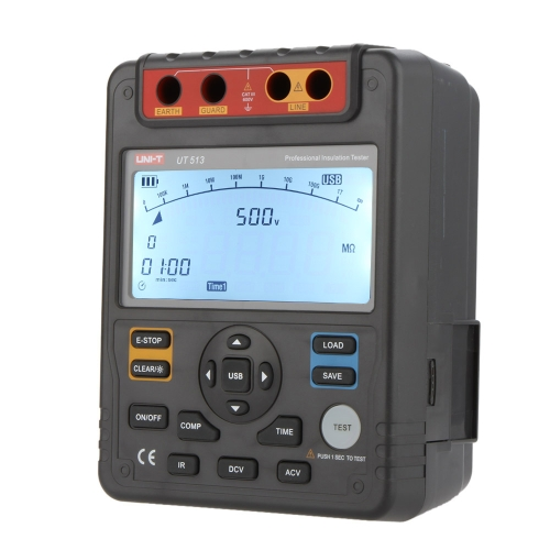 UNI-T UT513 Insulation Resistance Testers Megohmmeter Voltmeter Auto Range 5000V 1000GΩ w/USB Interface