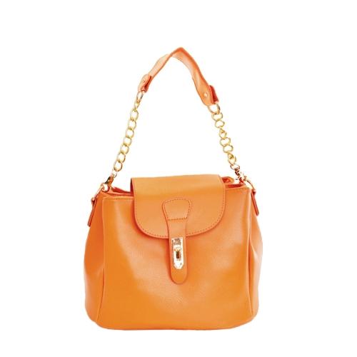 Nueva moda mujer bolso caramelo Color Twist Lock PU cuero sólido cubo de bandolera bandolera