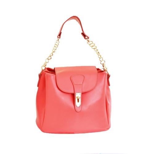 Nova moda mulheres bolsa Candy cor Twist Lock PU couro sólido ombro Crossbody balde saco