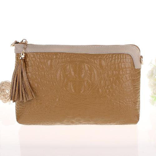 Lujo mujeres embrague bolso cocodrilo patrón monedero del bolso de Mensajero de cuero genuino hombro cadena