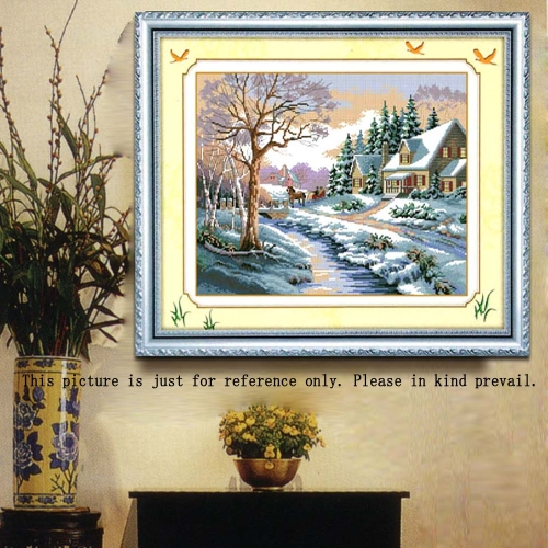 DIY Handmade Needlework Cross Stitch Set Embroidery Kit Precise Printed Snowscape Pattern Cross-Stitching 52 * 43cm Home Decoration