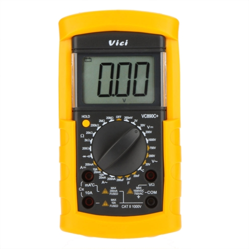 Vici VICHY VC890C + Digital DMM multímetro amperímetro voltímetro ohmímetro W / capacitância & teste de temperatura