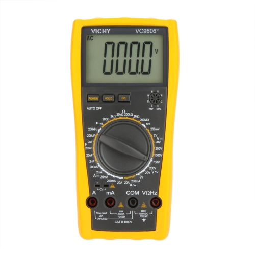 VICHY VC9806+  Digital Multimeter DMM Ammeter Voltmeter Ohmmeter w/ Capacitance Frequency & hFE Test
