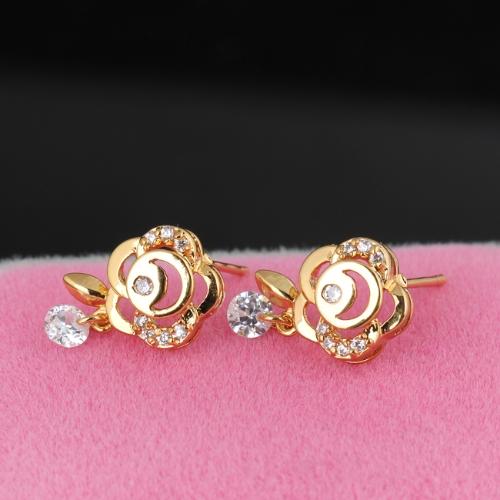 1pair claro de cristal de circón oro de 18K plateado flor oreja Stud cuelgan pendiente gota colgante joyas regalo para mujer dama