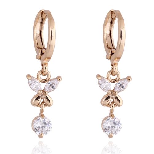 1PAAR klar Crystal Zirkon 18K Gold plattiert Blume Schmetterling Ohrringe Tropfen Anhänger Schmuck-Geschenk für Frauen Lady