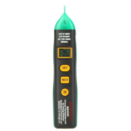 Mastech MS6580 Non-contact Infrared IR Thermometer Tempereture Sensor Meter w/ AC Voltage Detector & NCV Test