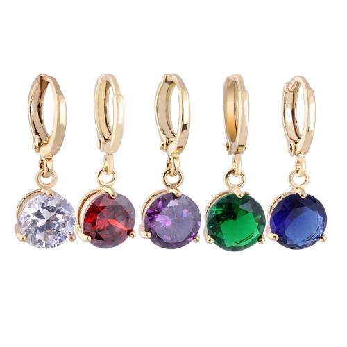 1Pair Clear Crystal Zircon 18K Gold Plated Vintage Retro kolczyki Dangle Drop Pendant Biżuteria Prezent dla kobiet Lady