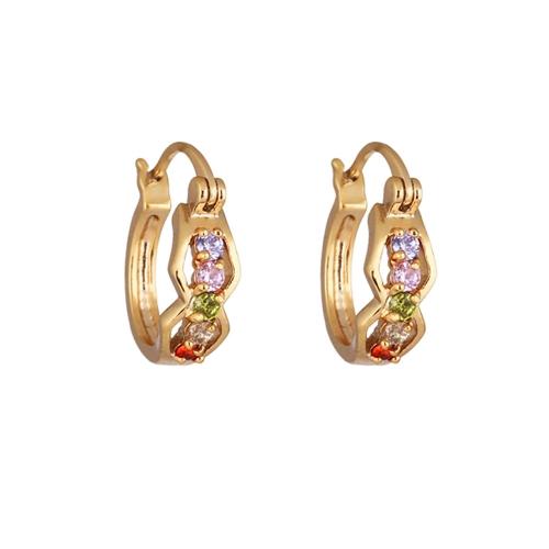 1Pair claro cristal de zircão 18k Gold Plated óculos Hoop Brincos Loop Clasp Jóias presente para mulheres Lady