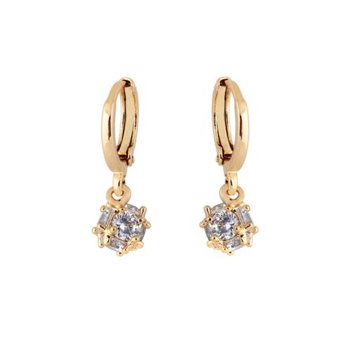1Pair claro cristal de zircão 18k Gold Plated Vintage Retro Praça gota Dangle brincos pingente jóia presente para mulheres Lady