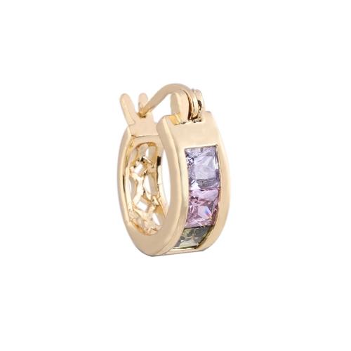 1Pair kolorowe kryształowe cyrkonie 18K złote plisowane retro retro szerokie loop kolczyki Hollow Gift Biżuteria dla kobiet Lady