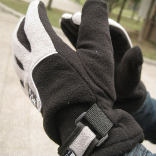 Guanti da regolabile uomo pieno dito in pile termico antivento all'aperto inverno sci ciclismo sci escursionismo