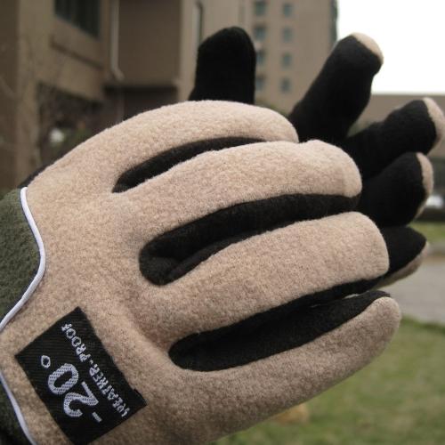 調節可能な手袋男性完全指フリース防風が屋外温熱冬スキー サイクリング スキー ハイキング