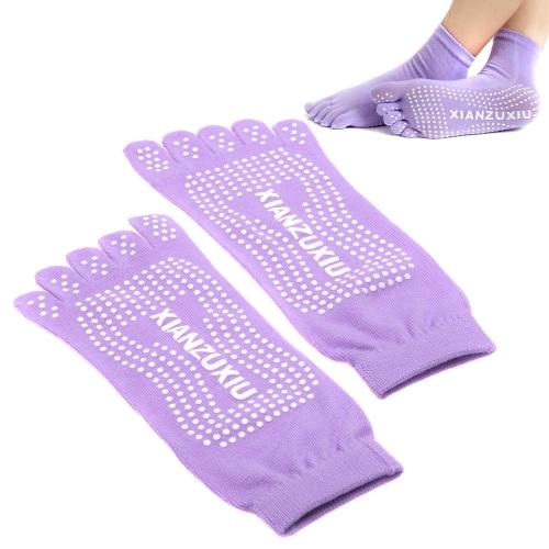 Yoga Socks 5-Toe Fashion Deodorant Breathable Cotton Non-slip Comfortable Foot Massage Purple