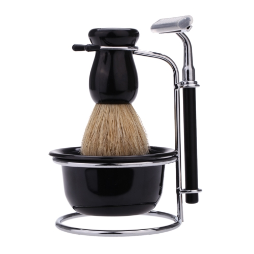 4 In 1 Men's Manual Razor Set Beard Razor Shaving Brush Bowl Stainess Steel Stand Holder 5 Blades Wet Shaving