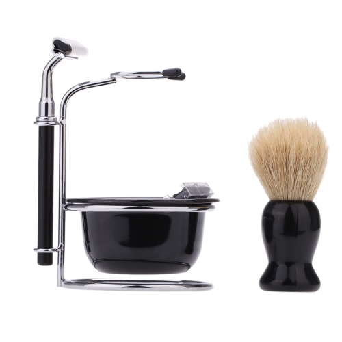 4 In 1 Men's Manual Razor Set Beard Razor Shaving Brush Bowl Stainess Steel Stand Holder 5 Blades Wet Shaving