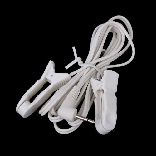 Cables de conexión con 2 Clips de oreja de los alambres de plomo para TENS Digital terapia máquina masajeador enchufe de 2,5 mm