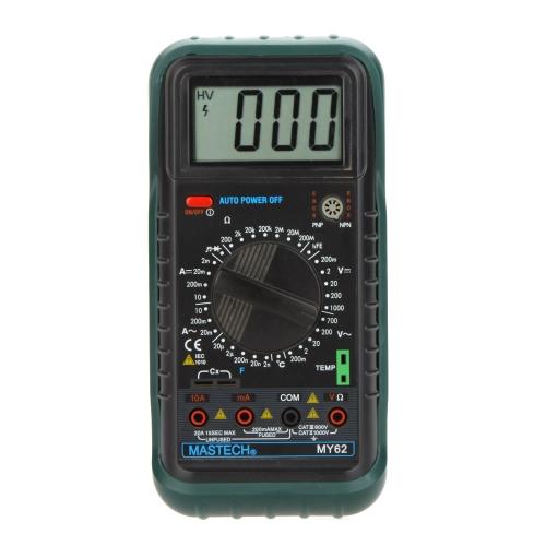 MASTECH MY62 Handheld Digital Multimeter DMM w/Temperature Capacitance & hFE Test