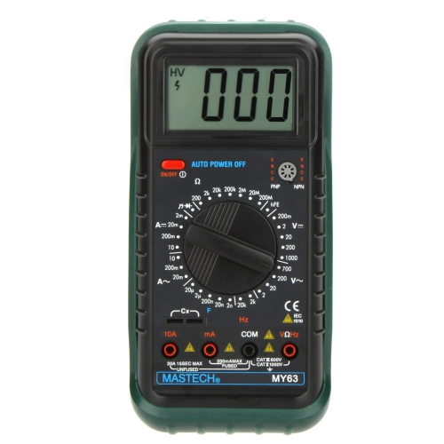 MASTECH MY63 Handheld Digital Multimeter DMM w/Capacitance Frequency & hFE Test