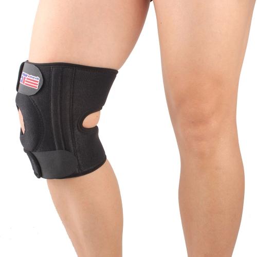 SX520 Einstellbare Sport-Bein Knie Unterstützung Brace Wrap Protector Pad Patella Guard 4 Frühling Bars schwarz