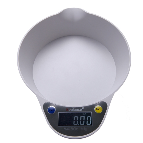 Multifunctional Precise Electronic Digital LED Green Backlight Kitchen Scale 5kg/1g 11lb/0.002lb with Bowl Tare and Auto Off Function