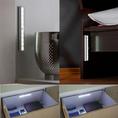 10 LED 2835 SMD PIR Infrared Human Body Sensor Lamp Night Light for Corridor Drawer Cabinet Kitchen Living Room Bedroom Indoor