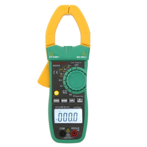 MASTECH MS2026 Auto Range Digital AC Clamp Meter Ammeter Voltmeter Ohmmeter w/ Capacitance & Frequency Test