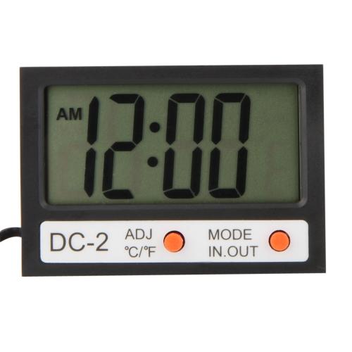Indoor Outdoor Mini LCD Digital Thermometer ℃/℉ Temperature Meter Clock w/ Probe