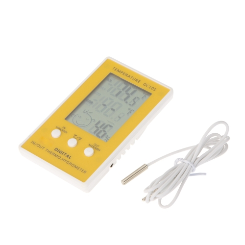 LCD Digital Thermometer Hygrometer Temperature Humidity Meter w/ Wired External Sensor