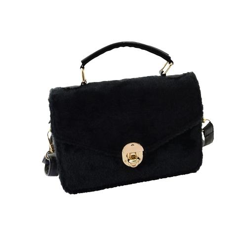 Новые моды женщин сумочка из искусственного меха твист блокировки верхней обрабатывать PU кожа плечо сумка Tote